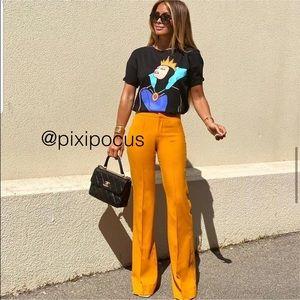 Zara Flared Mid-Rise Pants Orange Size Small